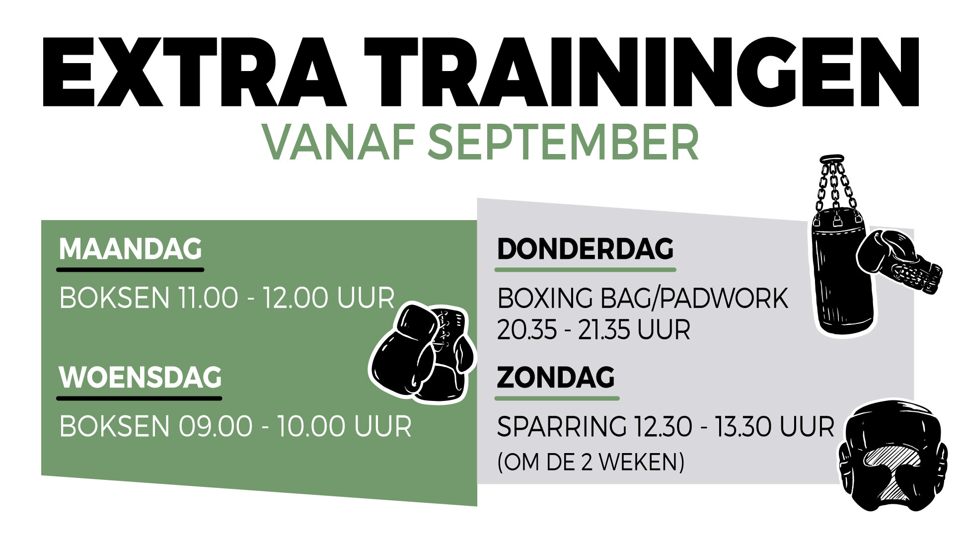 Extra trainingen va september
